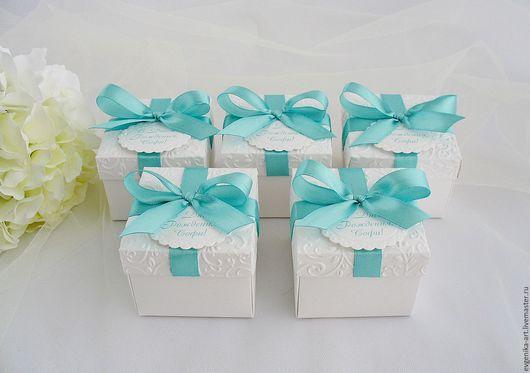 """Подарочная упаковка ручной работы. Ярмарка Мастеров - ручная работа. Купить Бонбоньерки """"Тиффани"""". Handmade. Белый, коробочка для конфет, коробочка"""