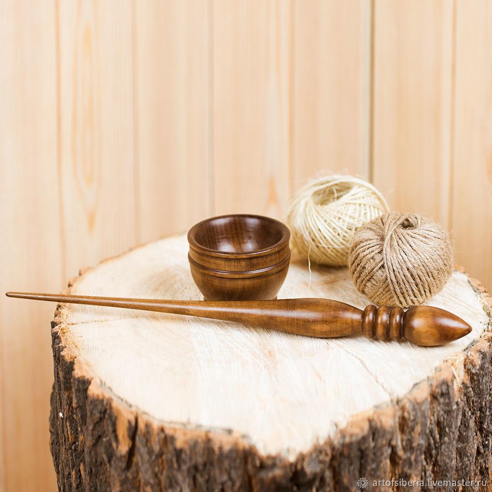 Spindle for spinning Pine (with base) Wooden shank #B13, Spindle, Novokuznetsk,  Фото №1