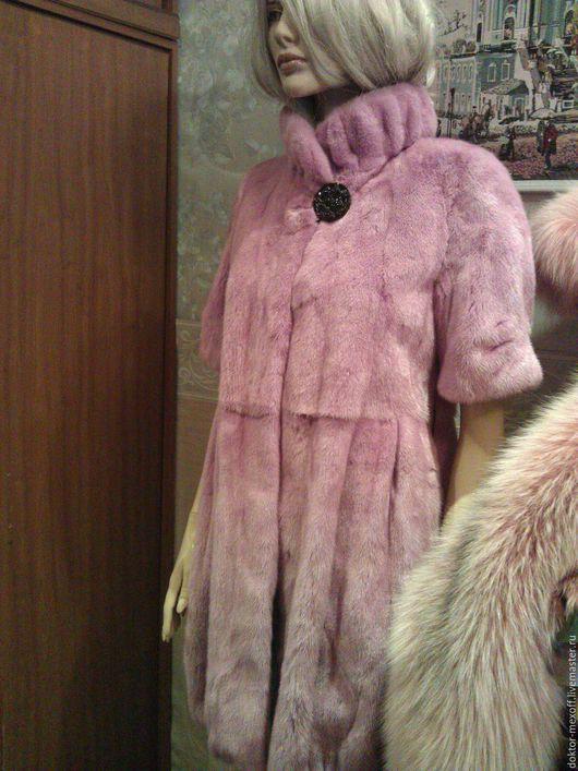 Верхняя одежда ручной работы. Ярмарка Мастеров - ручная работа. Купить Шуба норковая. Handmade. Розовый, серый, дизайнерская одежда