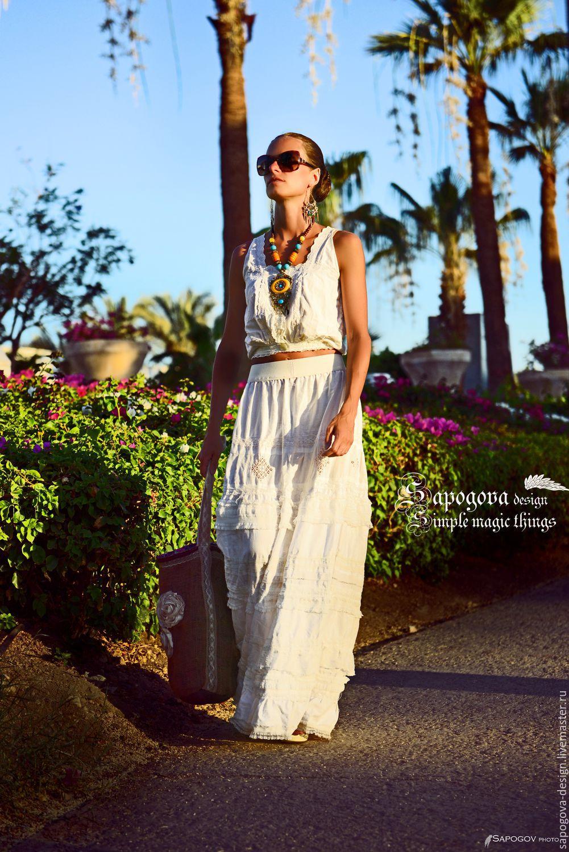 Бохо белая юбка