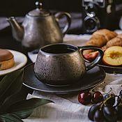 Посуда handmade. Livemaster - original item Tea pairs: 300 ml mug and saucer series Bronze of the Normans. Handmade.