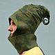 """Шапки ручной работы. Ярмарка Мастеров - ручная работа. Купить Шапочка """"Эльфийский шлем"""". Handmade. Зеленый, гном, шапка с ушами"""