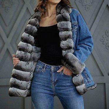 Одежда ручной работы. Ярмарка Мастеров - ручная работа Джинсовая куртка с шиншиллой. Handmade.