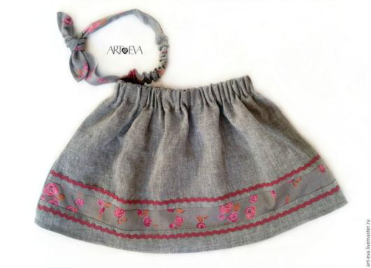 Одежда для девочек, ручной работы. Ярмарка Мастеров - ручная работа. Купить Комплект для девочки юбка и повязка на голову. Handmade. Серый