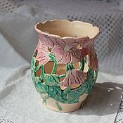Для дома и интерьера ручной работы. Ярмарка Мастеров - ручная работа Ваза керамическая Вьюнки. Handmade.