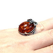 Украшения handmade. Livemaster - original item Silver Ring / ring made of natural amber (a). Handmade.