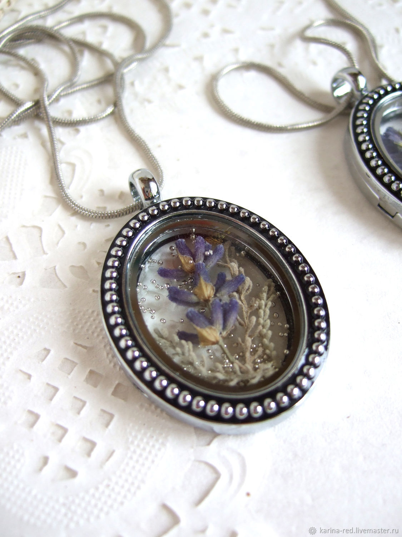Transparent Pendant Locket Living Memory Locket Lavender Provence 2, Pendants, Taganrog,  Фото №1
