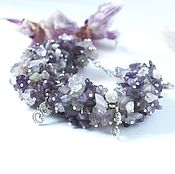 Украшения handmade. Livemaster - original item Purple amethyst bracelet with pendants