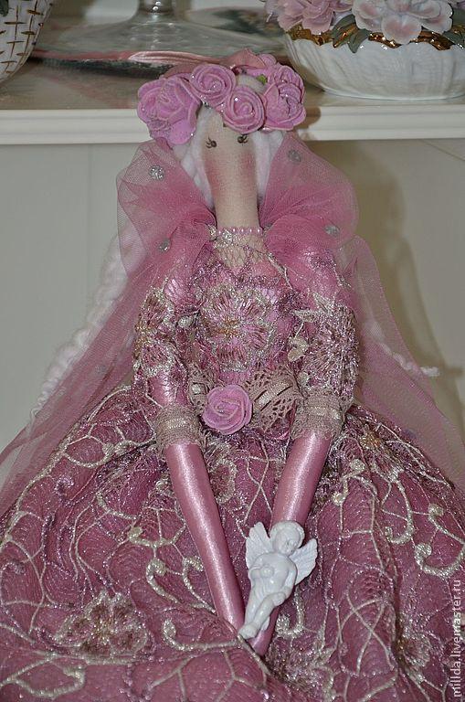 Коллекционные куклы ручной работы. Ярмарка Мастеров - ручная работа. Купить Ангелина. Handmade. Розовый, расшитое крудево