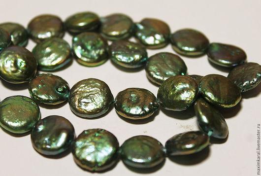 Для украшений ручной работы. Ярмарка Мастеров - ручная работа. Купить Нить 19 см., зеленые с золотом жемчужные монетки 11 мм.. Handmade.