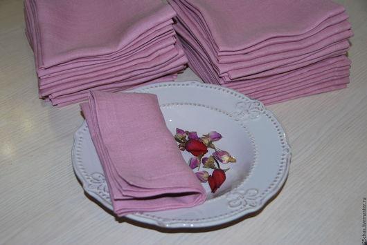 """Текстиль, ковры ручной работы. Ярмарка Мастеров - ручная работа. Купить Льняные салфетки """"Винтажно-розовые"""". Handmade. Розовый"""