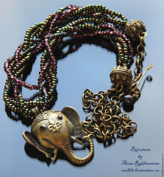 """Колье, бусы ручной работы. Ярмарка Мастеров - ручная работа. Купить Ожерелье """"Индийский слон"""". Handmade. Комбинированный, бисер чешский"""