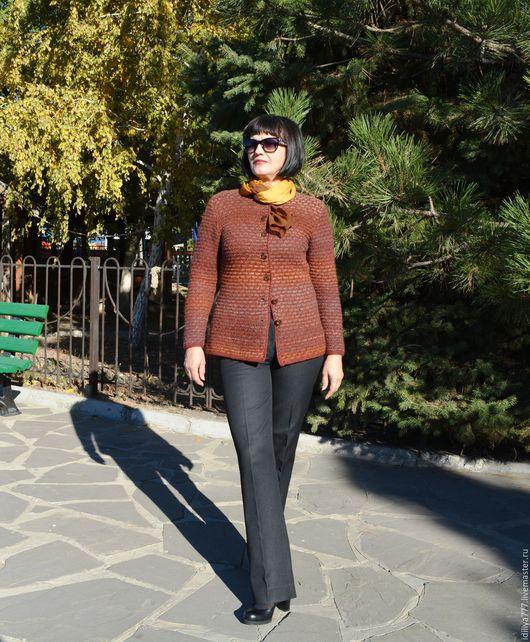 """Пиджаки, жакеты ручной работы. Ярмарка Мастеров - ручная работа. Купить Жакет """"ОСЕНЬ"""". Handmade. Рыжий, вязание спицами"""