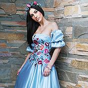 Одежда ручной работы. Ярмарка Мастеров - ручная работа Нарядное вышитое платье. Роскошное платье «Небесное». Handmade.