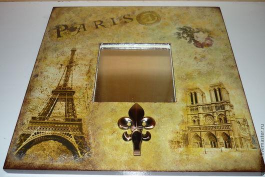 """Прихожая ручной работы. Ярмарка Мастеров - ручная работа. Купить Зеркало-ключница """"Париж"""". Handmade. Зеркало декупаж, деревянная рамка"""