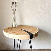 Столы ручной работы. Ярмарка Мастеров - ручная работа Кофейный столик из дуба с дымчатой рекой из смолы. Handmade.