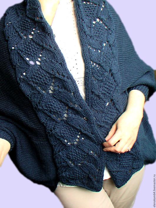 Кофты и свитера ручной работы. Ярмарка Мастеров - ручная работа. Купить кардиган вязаный. Handmade. Тёмно-синий, кофта вязаная
