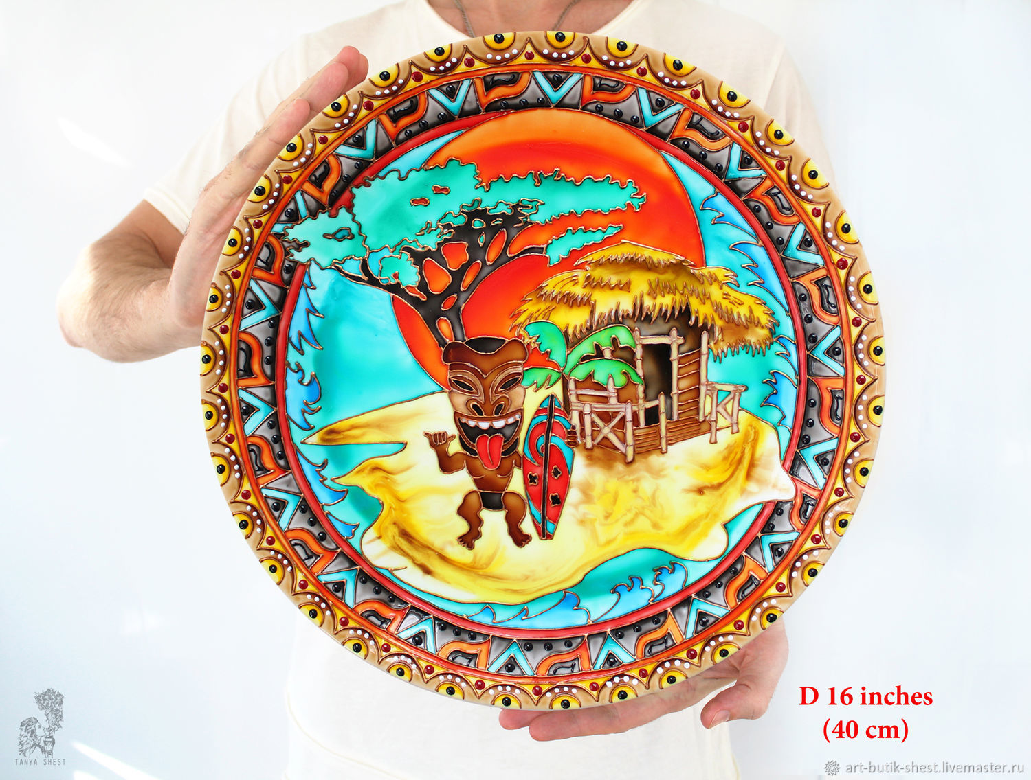 Large plate on the wall 'African beach' porcelain D 40 cm, Decorative plates, Krasnodar,  Фото №1
