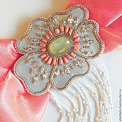 Украшения handmade. Livemaster - original item buckle-brooch with prehnite and coral. Handmade.