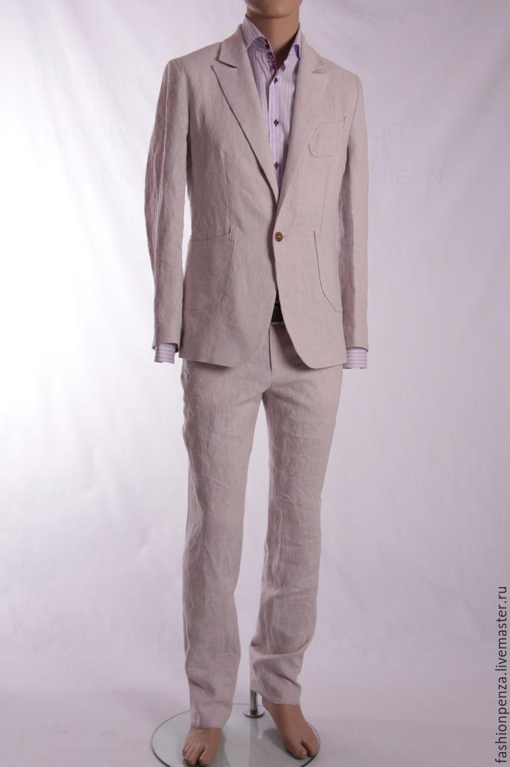 Men's suit made of linen beige, Mens suit, Penza,  Фото №1