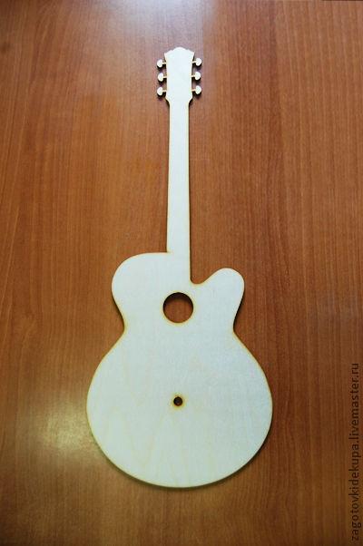 Часы `Гитара` Размер: 50х21 см Материал: фанера 4 мм
