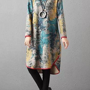 Одежда ручной работы. Ярмарка Мастеров - ручная работа Тёплое платье Художественное. Handmade.