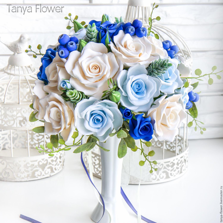 Голубой букет невесты с доставка по москва — img 8