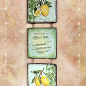 """Для дома и интерьера ручной работы. Ярмарка Мастеров - ручная работа Триптих """"Лимонный"""". 3 вида. Handmade."""