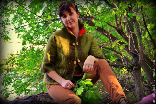 """Пиджаки, жакеты ручной работы. Ярмарка Мастеров - ручная работа. Купить Жакет"""" лесной"""". Handmade. Оливковый, яркий, Мериносовая шерсть"""