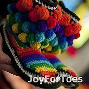 """Обувь ручной работы. Ярмарка Мастеров - ручная работа Домашние сапожки """"Радуга. Joy """" (дом). Handmade."""