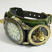 "Украшения handmade. Livemaster - original item Steampunk Clock ""STEAMPUNK TECHNOLOGY"" kvartsevye.Braslet skin.. Handmade."