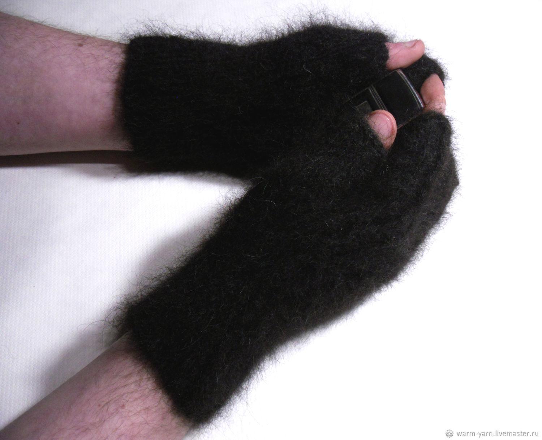 Men's knitted fingerless gloves Magic of black, Mitts, Klin,  Фото №1