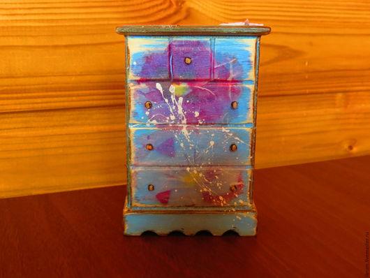 """Кукольный дом ручной работы. Ярмарка Мастеров - ручная работа. Купить Кукольный комодик """"Мини"""". Handmade. Голубой, бантик"""