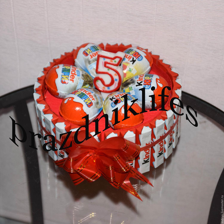 Персональные подарки ручной работы. Ярмарка Мастеров - ручная работа. Купить Торт из киндеров со свечой цифрой - подарок на День Рождения. Handmade.