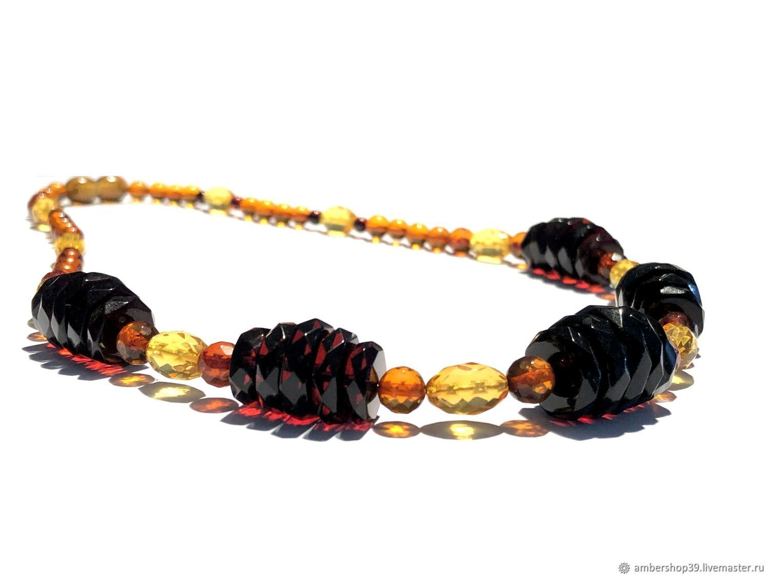 Amber beads with diamond cut, Necklace, ,  Фото №1