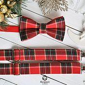Аксессуары handmade. Livemaster - original item Christmas kit bow tie and suspenders, Tartan, red plaid. Handmade.