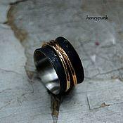 Украшения ручной работы. Ярмарка Мастеров - ручная работа BLACK & GOLD широкое  кольцо из серебра и золота. Handmade.