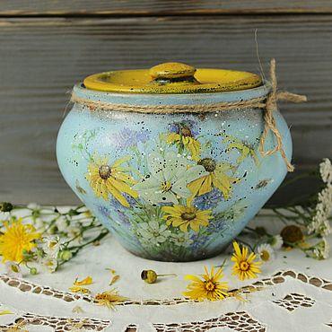 Посуда ручной работы. Ярмарка Мастеров - ручная работа Горшочек большой Полевые цветы в стиле кантри,винтаж. Handmade.