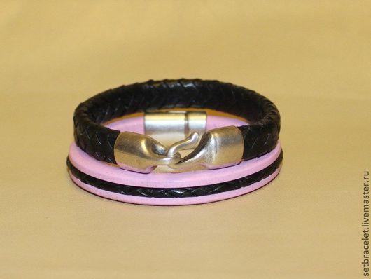 Браслеты ручной работы. Ярмарка Мастеров - ручная работа. Купить Комплект женских кожаных браслетов, розовый, черный. Handmade. Розовый