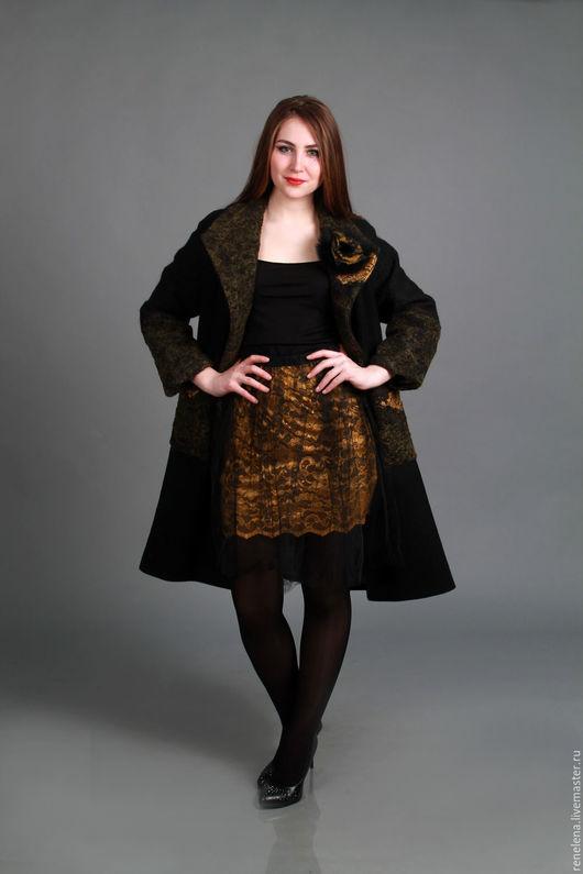 Верхняя одежда ручной работы. Ярмарка Мастеров - ручная работа. Купить Пальто с кружевом и войлоком. Handmade. Цветочный, нунофелтинг