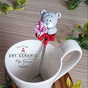"""Посуда ручной работы. Ярмарка Мастеров - ручная работа Ложка с декором """"Мишка Тедди с букетом"""" ОТЛОЖЕНА. Handmade."""