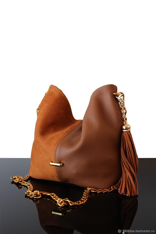 Bag: Small handbag made of genuine leather and suede Caramel, Sacks, Bordeaux,  Фото №1