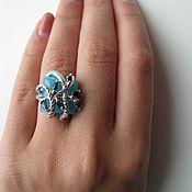 Украшения handmade. Livemaster - original item Ring with chalcedony and sapphires. 925 sterling silver.. Handmade.