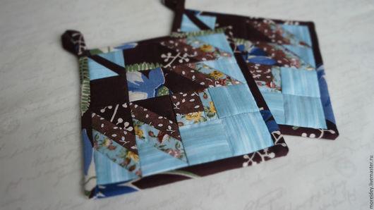 Кухня ручной работы. Ярмарка Мастеров - ручная работа. Купить Прихватки Кленовый лист шоколадный на голубом. Handmade. Прихватки, подарок