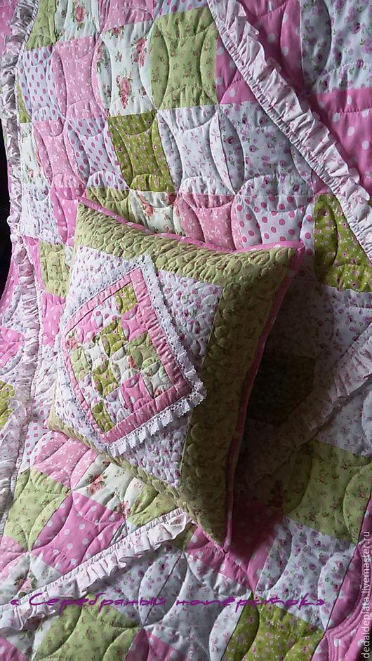 """Пледы и одеяла ручной работы. Ярмарка Мастеров - ручная работа. Купить Лоскутный комплект """" Леденцы"""". Handmade. Розовый"""