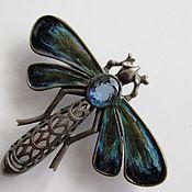 Винтаж handmade. Livemaster - original item LARGE dragonfly BROOCH GLASS RHINESTONES CZECH JEWELRY EXT. comp №2. Handmade.