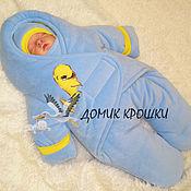 """Работы для детей, ручной работы. Ярмарка Мастеров - ручная работа Комбинезон-конверт для новорожденного """"Китёнок"""" голубой. Handmade."""