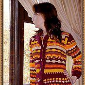 """Одежда ручной работы. Ярмарка Мастеров - ручная работа Жакет-пальто крючком """"Багрянец осени"""".. Handmade."""