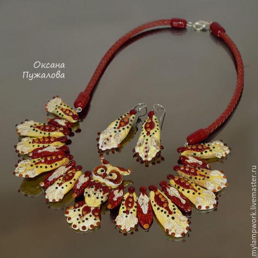 Колье и серьги `Сова`, этнические украшения, стекло
