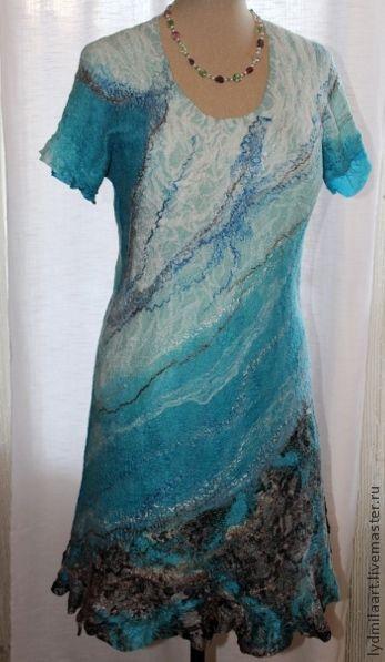 Платья ручной работы. Ярмарка Мастеров - ручная работа. Купить Платье валяное  на шёлке «Мечты о море». Handmade. Тёмно-бирюзовый